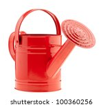 Red watering can. it is...