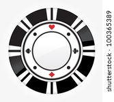 single black casino chip... | Shutterstock .eps vector #100365389