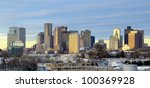 Industrial view of the Financial District from East Boston in Boston, Massachusetts. - stock photo
