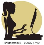 illustration of a young woman... | Shutterstock .eps vector #100374740