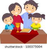 Illustration of a Family Celebrating Passover - stock vector