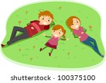 Illustration of a Family Lying on a Grass Field - stock vector