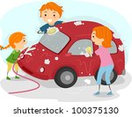 Illustration of a Family Washing Their Car - stock vector