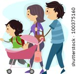 Illustration of a Family Taking a Stroll Together - stock vector