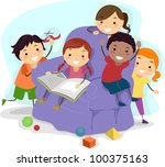 illustration of kids playing | Shutterstock .eps vector #100375163