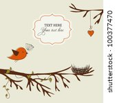 card with bird and nest | Shutterstock .eps vector #100377470