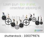 business people over machine... | Shutterstock .eps vector #100379876