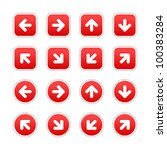 red stickers with arrow sign.... | Shutterstock .eps vector #100383284