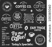 set of coffee shop sketches and ... | Shutterstock .eps vector #100385060