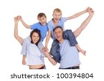 cute family of a four in blue... | Shutterstock . vector #100394804