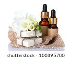 bottles with essence oil  soap... | Shutterstock . vector #100395700