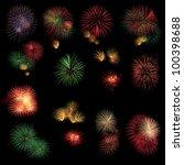 long exposure of fireworks... | Shutterstock . vector #100398688