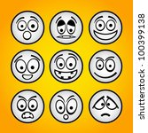 set of funny white emoticons. | Shutterstock .eps vector #100399138