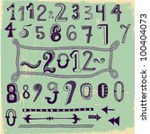 whimsical hand drawn numbers ... | Shutterstock .eps vector #100404073