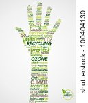Go Green. Words cloud about environmental conservation in hand. Vector file available. - stock vector