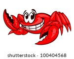 Smiling red sea crab with claws. Vector illustration