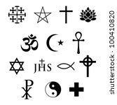 set of 14 religious icons | Shutterstock .eps vector #100410820