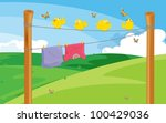 Stock vector birds and clothes drying illustration 100429036