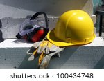 safety gear kit close up on...   Shutterstock . vector #100434748