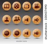 round wooden icons. cinema... | Shutterstock .eps vector #100437490