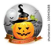 halloween pumpkin with witches... | Shutterstock . vector #100443688