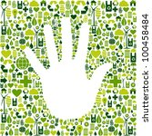 Eco environment icons set background in human hand shape. - stock photo