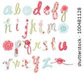 Stock vector unique vector flower font amazing hand drawn alphabet 100481128