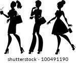 Silhouettes Of 3 Women  Walkin...
