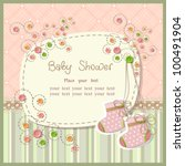 baby shower with scrapbook... | Shutterstock .eps vector #100491904