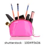 make up bag with cosmetics and... | Shutterstock . vector #100495636