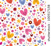 hearts & flowers pattern - stock vector