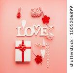 valentines day stylish flat lay ... | Shutterstock . vector #1005206899