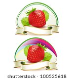strawberry with leafs and ribbon | Shutterstock .eps vector #100525618