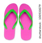 pink and green flip flop...