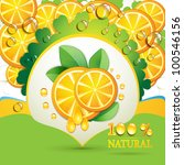 slices orange with leaf and... | Shutterstock . vector #100546156
