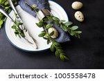 festive table setting for... | Shutterstock . vector #1005558478