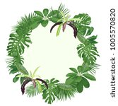 round frame with tropical... | Shutterstock .eps vector #1005570820