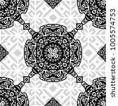 geometric  hand drawn seamless... | Shutterstock .eps vector #1005574753