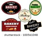 set of vintage bakery labels on ...