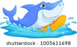 surfing shark cartoon | Shutterstock .eps vector #1005611698