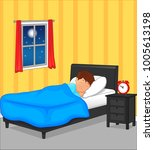 little boy sleeping in bedroom... | Shutterstock . vector #1005613198
