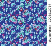 ditsy floral background.... | Shutterstock .eps vector #1005613759