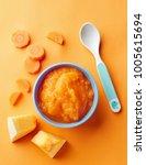pumpkin and carrot baby puree... | Shutterstock . vector #1005615694