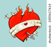 burning heart with arrow and... | Shutterstock . vector #1005617614