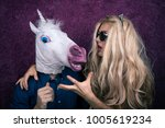 portrait of happy unicorn in... | Shutterstock . vector #1005619234