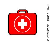 red first aid kit with a white... | Shutterstock .eps vector #1005624628