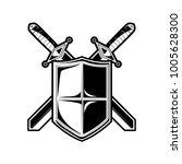 knight shield and sword logo... | Shutterstock .eps vector #1005628300