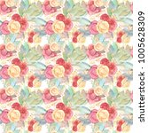 seamless flower pattern of roses | Shutterstock . vector #1005628309