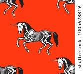 seamless pattern. skeleton of a ... | Shutterstock .eps vector #1005628819
