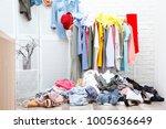 messy dressing room interior... | Shutterstock . vector #1005636649